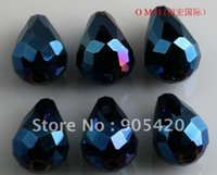 crystal beads drop - OMH Free ship jewelry Chains BEAD drop glass crystal blue AB beads x9mm Sj75