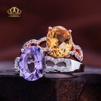 Wholesale K white gold filled AAA grade Natural Oval Amethyst Rings for engagement