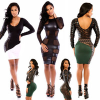 Cheap Celebrity Women Dress 2014 Pu Leather Patchwork Hollow Out Long Sleeve Bodycon Bandage Dress Casual vestidos Party Dresses