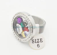 Wholesale Stainless Steel Silver Crystal Round Glass Memory Locket Rings with mesh band