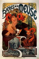 alphonse mucha paintings - Beer of the Meuse Alphonse Mucha Canvas Portrait Paintings Wall Art High quality Hand painted
