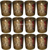 Wholesale 2 Inch Tall Mercury Wedding Glass Votive Holder Gold Set of USD34 Each USD2