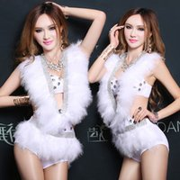 beautiful jumpsuits - 2016 Beautiful White Feathers Deep V Rhinestone Bra Jumpsuits Sexy Party Dancer DS Nightclub Performers Costume Hip hop Stage Wear