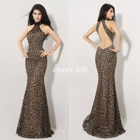 beauty arabic - Sexy Beauty Queen Pageant Dresses Leopard Beading Mermaid Backless Halter Floor Length Cheap Arabic Evening Gowns Prom Party Dresses