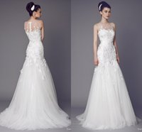 Wholesale Zuhair Murad Wedding Dresses Muslim Arabic Lace Applique Bodycon Court Train Zipper White Bridal Dress To Wedding Party robe de mariage