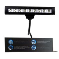Wholesale 9 LED Flexible Music Stand Lighting Super Wide Bright Lamp Lamps Reading Light USB Adapter Charge Clip Lights