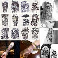 arm shoulder tattoos - 1 Black Death Skull Shoulder Tattoos Temporary Tatto Men Temporary Waterproof Man Tattoo Arm Sticker Fake Arm Sleeve Tattoo