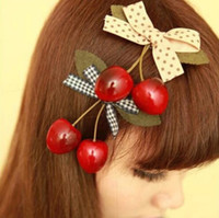 Wholesale Freeshipping NEW kids girl Princess cherry Hair Clips bow Hair pins Hair Accessories korean