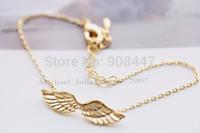 Wholesale 1 Piece B16 angel wings bracelet in gold or silver guardian angel bracelet trendy Icarus wing bracelets over