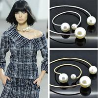 big plastic pearls - Fashion Big Pearl Necklaces Pendants Channel Rhinestones Long Statement Necklaces Pendants Women Men Jewelry