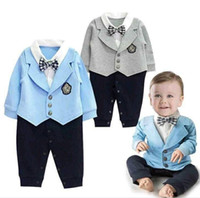 Cheap Gentleman Baby Clothes Bowknot Rompers Children Clothing Babies Infant Butterfly One-Piece Jumpsuit Boys Romper D6613