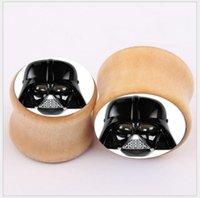 Wholesale Star Wars Stormtrooper Logo Saddle Ear Plug Flesh Tunnel Gauge mm Double Flared Wooden Body Jewelry Piercing Ear Expander AA6469