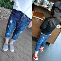Wholesale 2 Y Children s denim pants New Autumn Fashion baby boys girls personality Frosted hole stretch jeans kids clothing