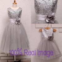 baby tea party - Cheap Silver Real Image Sequin Tulle Girls Dresses Handmade Flower A line Tea Length Baby Formal Occasion Prom Bridal Party Gowns