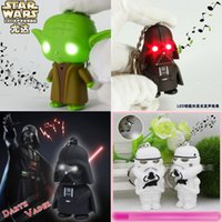 plastic pendant lights - New Star Wars Keychain Accessories Darth Vader Yoda key chain White soldiers with light and voice LED Luminous key ring Chain Key Pendant E1