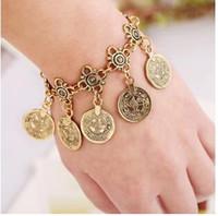 anklet designs - Bohemian bronze Coin silver bracelets Adjustable Handmade floral design Gypsy Boho Turkish Tribal ethnic jewelry bracelets anklet