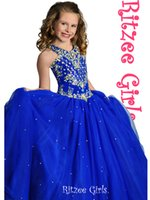 Wholesale 2015 New Arrival Pageant Dress For Little Children Dark Royal Blue Coral Crystal Full Length Tulle Ball Gown Pageant Cupcake Dress On Sale