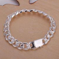 Wholesale fashion jewelry sterling silver bracelet MM Mens sideways