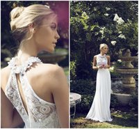 sleeveless halter top - 2015 Riki Dalal Chiffon Wedding Dresses Bohemian Beach Garden Bridal Gowns Floral Halter Strap Backless Top Luxury Beaded Lace Bridal Gowns