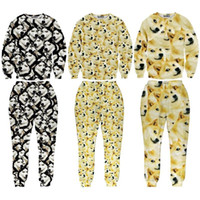 Wholesale FG1509 Unisex Womens Mens D DOGE ALL OVER Sweatsuits Shiba Inu Dog Tracksuit Doge Shie Sport Suit Shibe Sets Husky Suits Sportswear