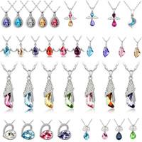 amethyst rose gold - Fashion jewelry High quality Austrian crystal CZ Diamonds pendant necklace women jewelry Optional style