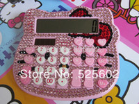 Wholesale 2014Hot Hello Kitty Bit Solar Calculator Solar Energy Calculator With LCD Screen Display Glass Diamond Rhinestone Pasted