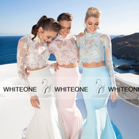 long prom dresses - HOT Long Sleeves Mermaid Prom Dresses Party Evening Lace Two Pieces Prom Dresses Backless High Neck Formal Dresses Evening Gowns