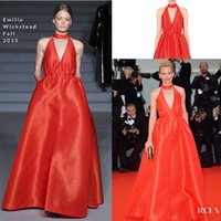 banks picture - Popular Elizabeth Banks Red Carpet Dresses with Sexy V Neck Sleeveless Custom Made Floor Length Satin Celebrity Pageant Dresses Cheap