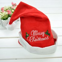 Wholesale Adult Embroidery Merry Christmas Non woven Fabrics Santa Claus Hats for Cosplay Hat Decoration Cheap Santa Claus Cap Hat Christmas Hats