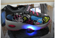 Wholesale Boys Girls Heelys Cartoon Monster High Flashing Light Roller Shoes kids Sneakers