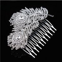 Wholesale 3 Inch Extra Large Vintage Look Rhodium Silver Tone Double Feather Bridal Hair Comb with Rhinestone Crystals