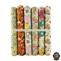 Wholesale 6 Assorted Pre Cut Charm Combed x50cm Cotton Poplin Quilting Fabric Light color quot daisy quot Bundle Sewing Diy Patchwork Cloth