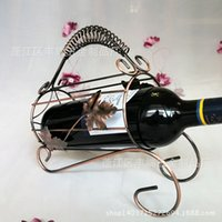 barrel wine racks - 2pcs Creative home bar wine bottle holder home decor Maple barrel factory direct European Iron Wine Rack creative wine rack wine rack formwo