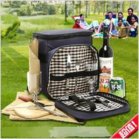 picnic backpack - 2015 AAA quality Outdoor picnic bag shoulder bag multi function tableware barbecue bag travel backpack Insulation Lunch Bag TOPB1918