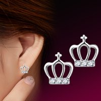 anti allergy - The Crown Princess Cross Earrings S925 Sterling Silver Earring female anti allergy Valentine s Day gift to send his girlfriend a gift