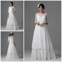 ball jackets - Elegant A Line Bateau Wedding Dresses with Lace Jacket Tiered Floor Length Garden Chiffon Long Sleeve Wedding Gowns Bridal Ball