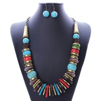 Wholesale National Style Jewelry Sets Charming Necklace Dangle Earrings Statement Jewelry For Women N2581