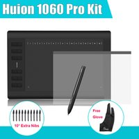 Wholesale HUION Pro Graphic Tablets Drawing Digital Tablet Kit Protective Film Parblo Two Fingers Glove Extra Nibs as Gift