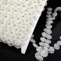 Wholesale Pearls Chain mm Beige Color Length m Crystal Rhinestone Mesh Trimming Pearl Chain For Garment Decorative Trim Decoration