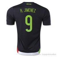 Wholesale New México 2015 9 R. JIMENEZ Home Soccer Jerseys Negro 15-16 R.JIMENEZ México Camisetas de fútbol Kits de calidad personalizada Top Tailandia