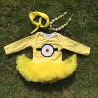 baby boy necklace - baby clothes Minions white dot boutique baby rompers yellow tutu dress long sleeve girls matching necklace and bow jump suits