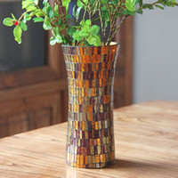 autumn table decorations - Continental autumn cafe strip mosaic glass vases stylish home furnishings living room dining table decoration vases