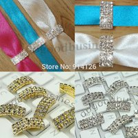 Wholesale Charming Diamante Rhinestone buckles clusters Ribbon Slider Wedding Decoration invitation card Favors