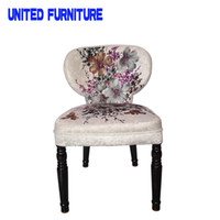 study room furniture - European style furniture fabric soft roll Chinese Brush Painting dining chair study room armless chair