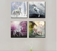 beautiful unicorn pictures - Hot Sell Modern Wall Painting Home Decorative Art Picture on Canvas Light of the moon the mysterious beautiful unicorn