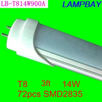 Cheap 10 pieces lot Free Shippping LED TUBE BULB 3ft 14W 900mm T8 lamps energy saving for existing fluorescent fixtures