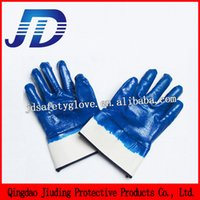 nitrile coated gloves - 2015 top selling10 Full dipped blue color smooth finish safety cuff work nitrile coated gloves with cotten liner