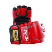 ufc gloves - Boxing Punching PU Gloves Sanda Fighting Gloves UFC Half Finger Gloves Free DHL