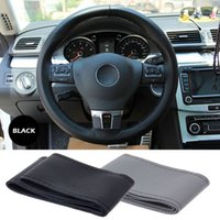 Wholesale High quality Genuine Pu Leather Car Steering Wheel Cover Racing Steering wheel Black And Grey For Choose
