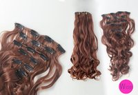 Wholesale Women From cm Light Brown Curly Wavy Clip In Full Head Set Wig Hair Piece Extensions Hairpieces
